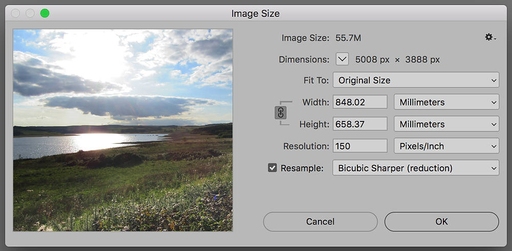 the image size window in adobe photoshop