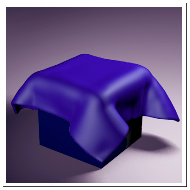 a cinema 4d image showing cloth draped over a cube.