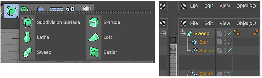 the generators available in cinema 4D, and a 'sweep' generator added to the the object manager window.