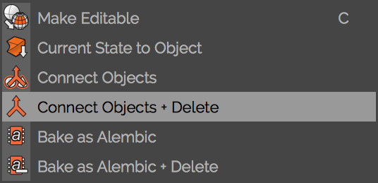 the 'connect objects and delete' panel, allowing both cubes to become a single object