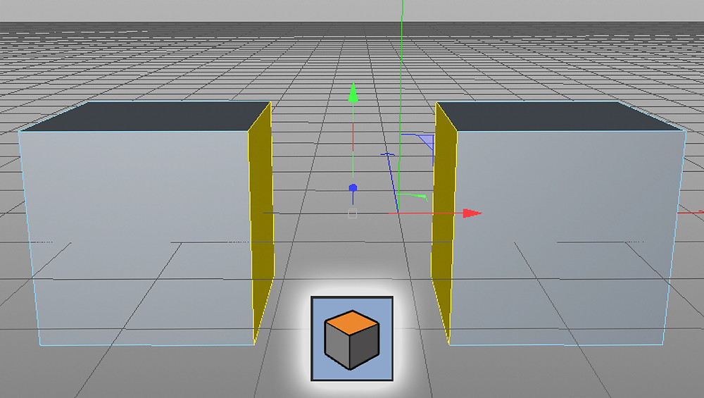 an image showing the ends of each cube are selected prior to creating a connection between them.