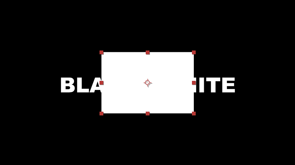 a white rectangle is added over two white words against a black background