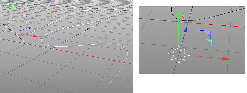 the original spline object, and the shape that will be applied to it