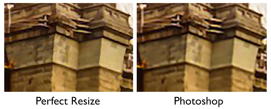 on the left is an example of enlarging an image using perfect resize, a separate program, and the same enlargement on the right done with adobe photoshop