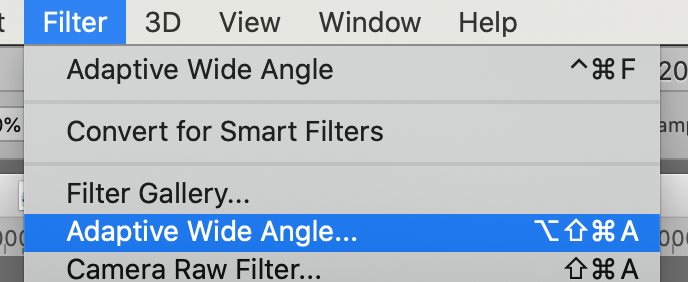 photoshop's filter menu, the location of 'adaptive wide angle'.