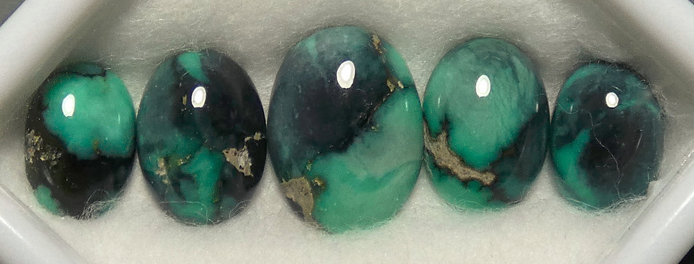 13x11mm to 10x7mm - Blue Boy Mine Natural Variscite Calibrated Cabochon Set