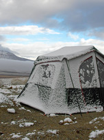 Mine Camp Tent in the snow