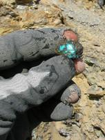 Black Web Gem nugget at the mine