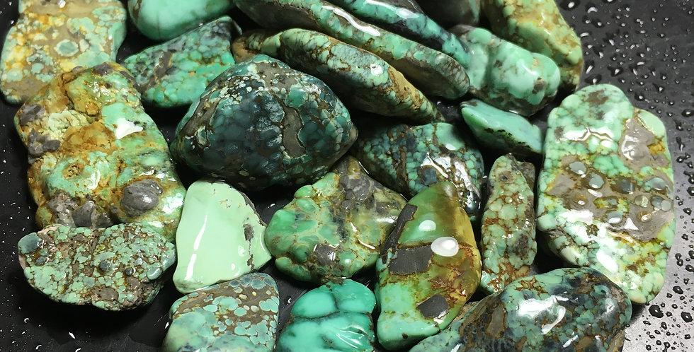 Blue Boy Greens and Spiderweb Variscite Rough