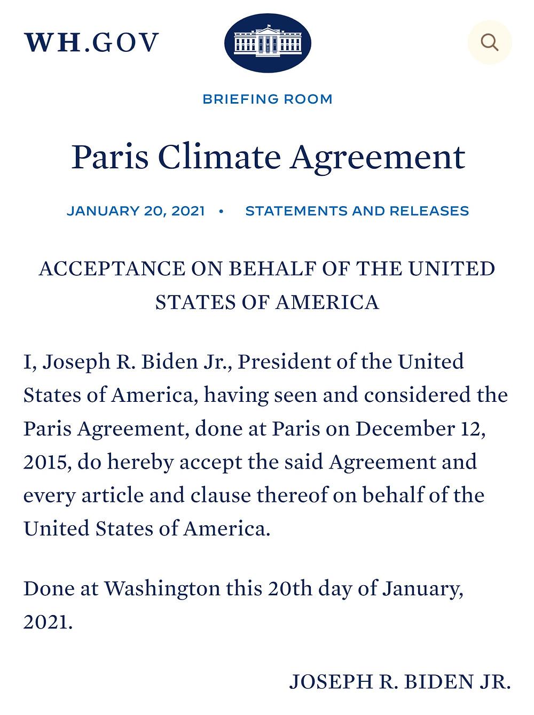 US rejoins the Paris Climate Agreement