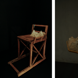 """sculpture on vintage / antique sled 2013  遠い国の遠い時代からkrankが持ちかえったアンティークやヴィンテージのアイテムに少しだけ新しい風景を加えさせていただくシリーズ  A series of works collaborating withantique / vintage items that one and only shop """"krank/marcello"""" brings back from distant eras of distant countries."""