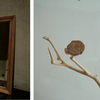 """sculpture on vintage / antique mirror 2013  遠い国の遠い時代からkrankが持ちかえったアンティークやヴィンテージのアイテムに少しだけ新しい風景を加えさせていただくシリーズ  A series of works collaborating withantique / vintage items that one and only shop """"krank/marcello"""" brings back from distant eras of distant countries."""