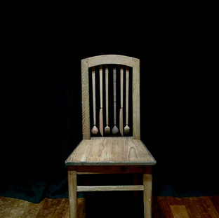"""sculpture on vintage / antique chair 2017  遠い国の遠い時代からkrankが持ちかえったアンティークやヴィンテージのアイテムに少しだけ新しい風景を加えさせていただくシリーズ  A series of works collaborating withantique / vintage items that one and only shop """"krank/marcello"""" brings back from distant eras of distant countries."""