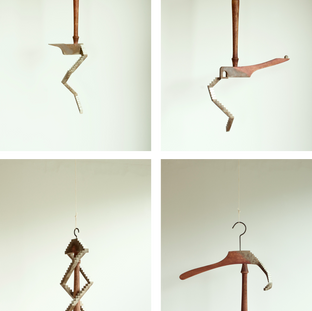 """sculpture on vintage / antique hanger 1 - 4 2020  遠い国の遠い時代からkrankが持ちかえったアンティークやヴィンテージのアイテムに少しだけ新しい風景を加えさせていただくシリーズ  A series of works collaborating withantique / vintage items that one and only shop """"krank/marcello"""" brings back from distant eras of distant countries."""