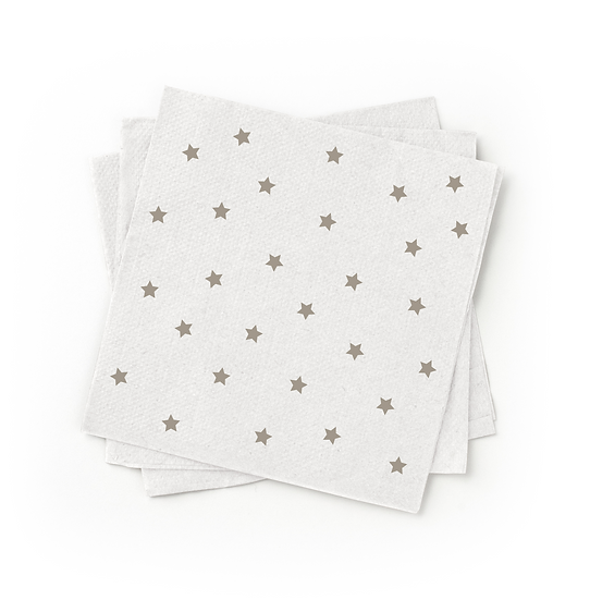Bagasse Cocktail Napkin, 200ct, Grey Star Printed