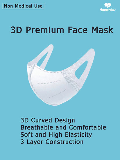 3 D Premium Face Mask , 3 Layers, White , 50 each / box, Non Medical Use