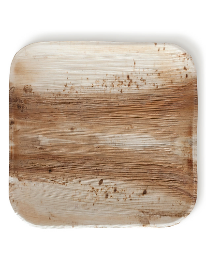 """Fallen Palm Leaf 10"""" Square Plate, Natural, Compostable ,Heavy Duty 25 Count"""