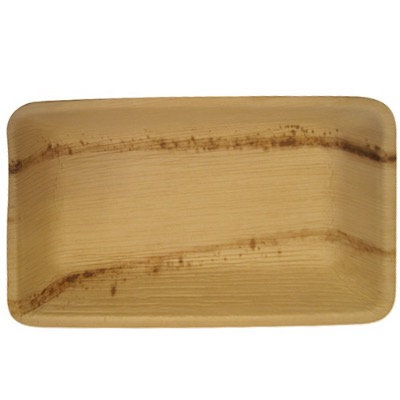 """Fallen Palm Leaf 10""""X6"""" Rectangle  Plate, Natural, Compostable ,Heavy Duty 100/c"""