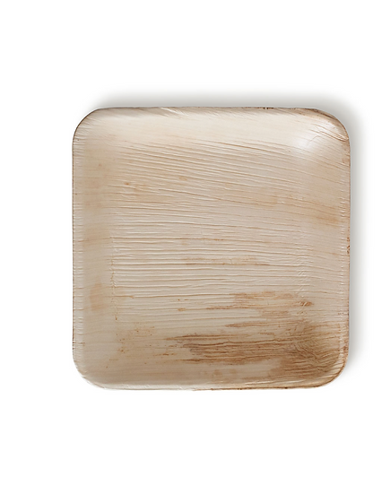 """Fallen Palm Leaf 6"""" Square Plate, Natural, Compostable ,Heavy Duty 200/case."""