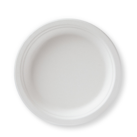 "BP-7   100% Compostable Sugar Cane Heavy Duty Plate, 7"", White 50 Count"