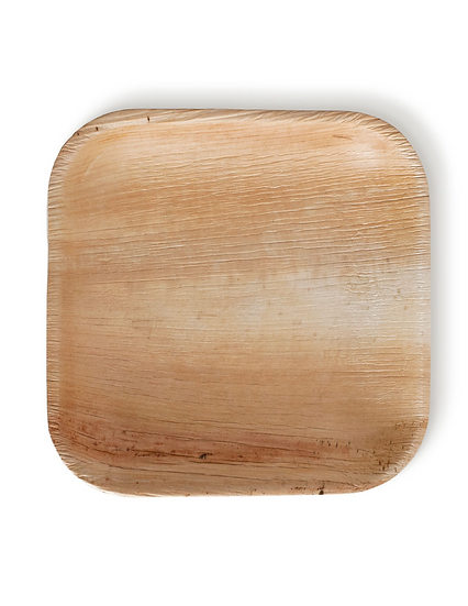 "Fallen Palm Leaf 8"" Square Plate, Natural, Compostable ,Heavy Duty 25 Count"