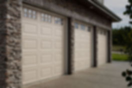 Traditional garage door with windows
