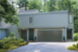 Modern flush panel grey garage door