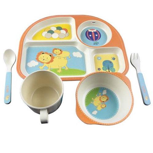 Set de masă Leu (farfurie 4 compartimente, bol, cană, linguriță și furculiță)