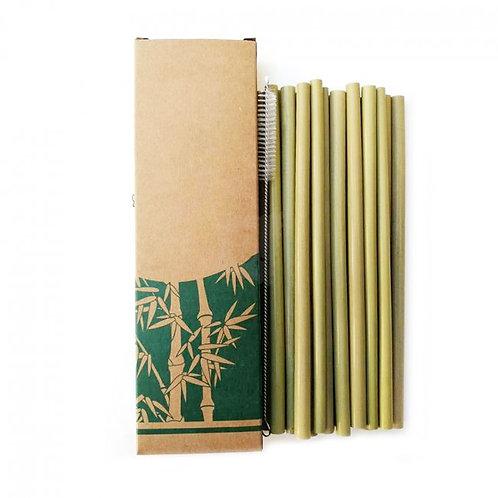 Paie din bambus (set 10 buc.+periuță pentru curățare)