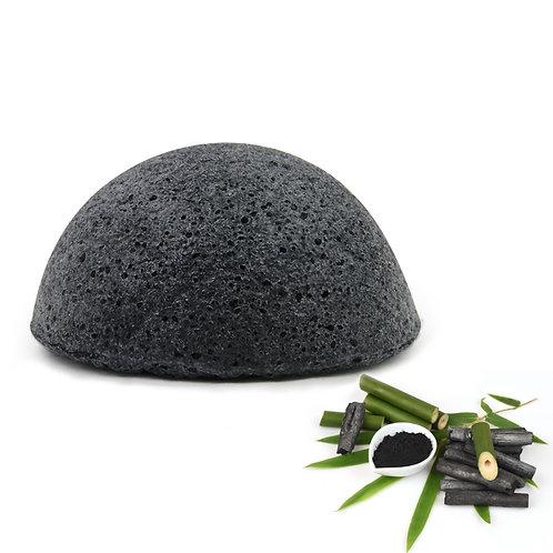 Burete natural Konjac pentru ten mixt (normal), cu cărbune de bambus