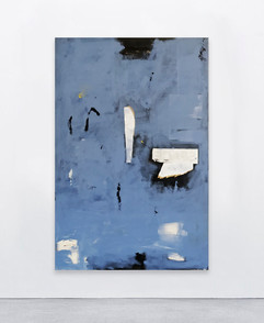 Untitled (space), 2020  Acrylic, spray, paper collage on canvas  150x100 cm