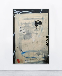 Home, 2020  Acrylic, spray and collage on canvas   146x100 cm