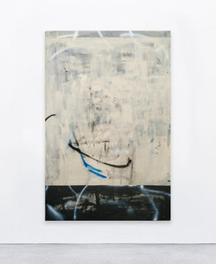 Untitled, 2020  Acrylic, spray and collage on canvas   146x100 cm