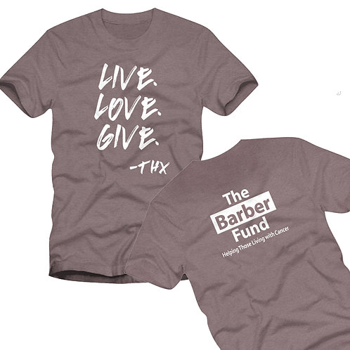 """Live.Love.Give."" T-Shirt - Heather Brown"