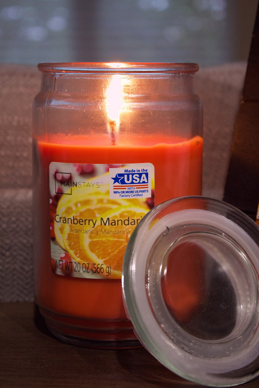 fall candles, cranberry mandarin candle