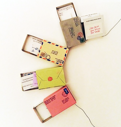 Matchbox love letters by Alicia Osterello.