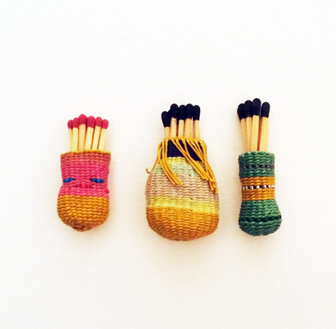 Tiny woven baskets by Tania Skevos.