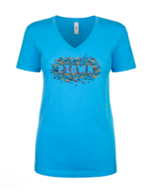 WOMENS V-NECK-Collage'Cancun Blue