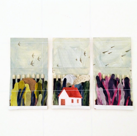 Tiny painted matchbook scenes by Maggie Chiang.
