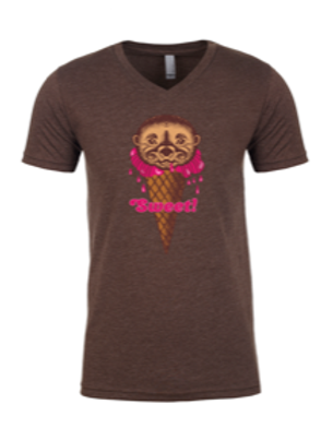 UNISEX V NECK-Ice-Cream Otter