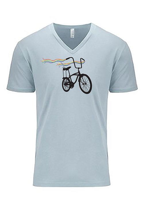MENS V-NECK-Bike Pride Light Blue