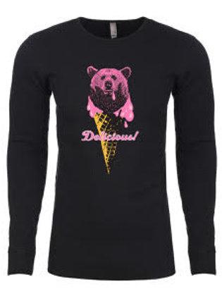 UNISEX THERMAL-Ice-Cream Bear Black
