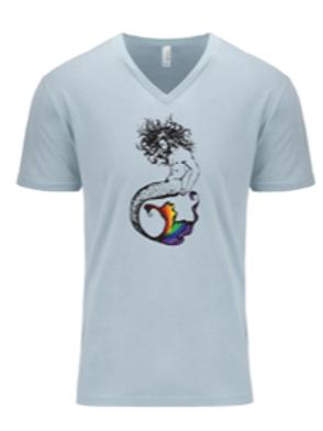MEN'S V-NECK- Merman Rainbow Light blue