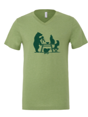 MENS V-NECK-Picnic Table Green