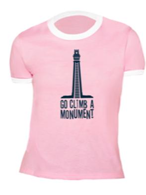 WOMEN'S RINGER T- Go Climb Pink