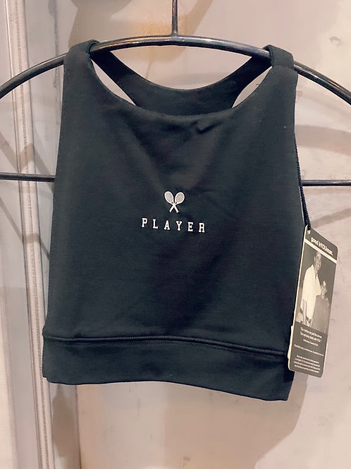 """Player"" Black Sports Bra"