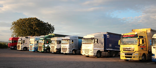 Trucks in designated truck parking at Amber Service Station Fermoy Co. Cork