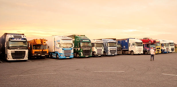 Trucks parked in designated truck parking at Amber Service Station Fermoy Co. Cork