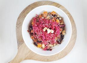 Ofengemüse mit fermentiertem Blaukraut und Quinoa
