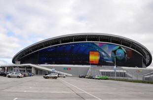 На медиафасаде стадиона Kazan-Arena показывают ролики о Свияжске и Болгаре